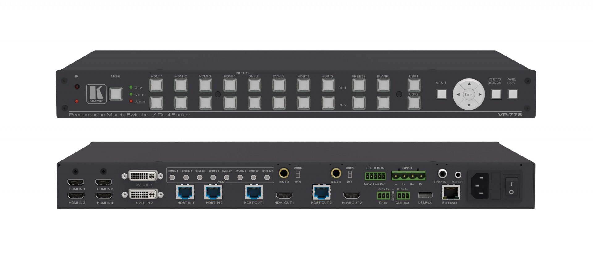 Kramer VP-778 8–Input Presentation Matrix Switcher/Scaler with Seamless Video Cuts and 4K30 Output Support