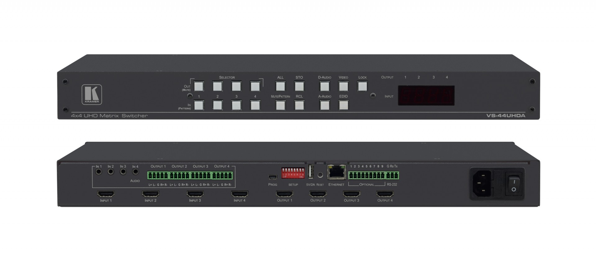 Kramer VS-44UHDA 4x4 4K60 4:2:0 HDMI Matrix Switcher with Audio Embedding/De–embedding