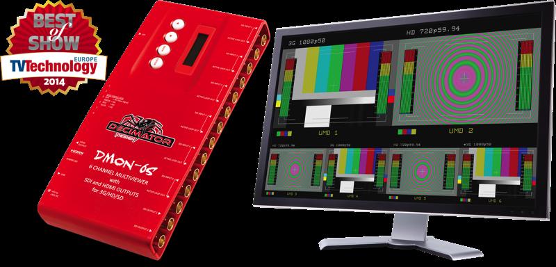 Decimator DMON-6S: 6 Channel Multi-Viewer w/ HDMI & SDI Outputs for 3G/HD/SD