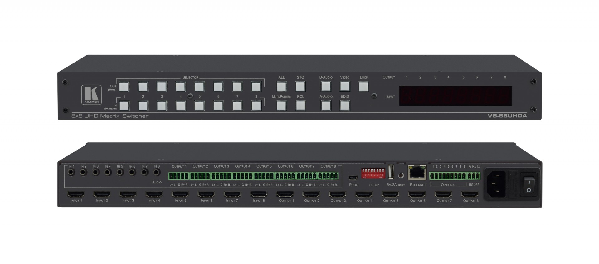 Kramer VS-88UHDA 8x8 4K60 4:2:0 HDMI Matrix Switcher with Audio Embedding/De–embedding