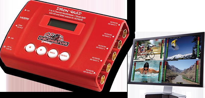 Decimator DMON-QUAD: 3G/HD/SD-SDI Quad Split Multi-Viewer, 3G/HD/SD-SDI + HDMI Outputs
