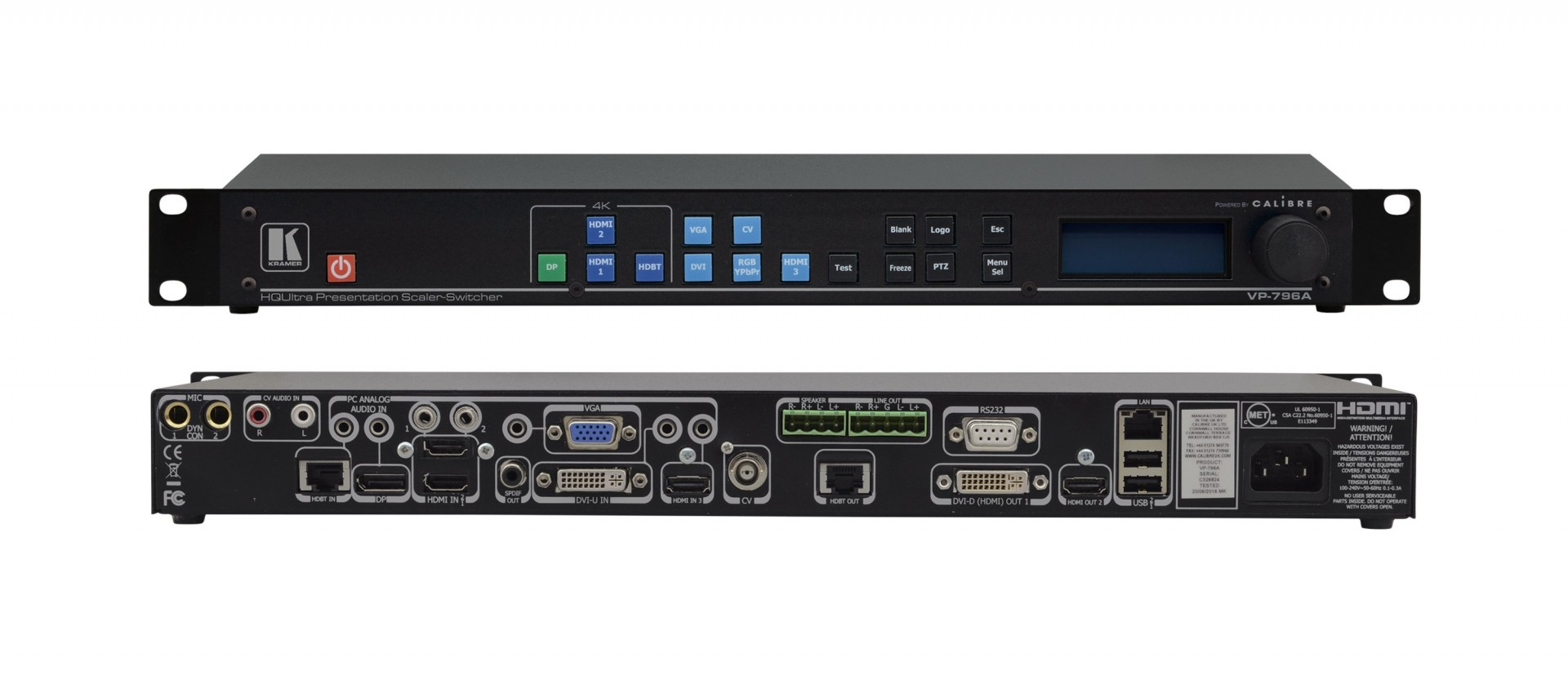 Kramer VP-796A HQUltra 4K60 4:2:0/HDBaseT & Legacy Presentation Switcher/Scaler with Ultra–Fast Input Switching & Analog Audio