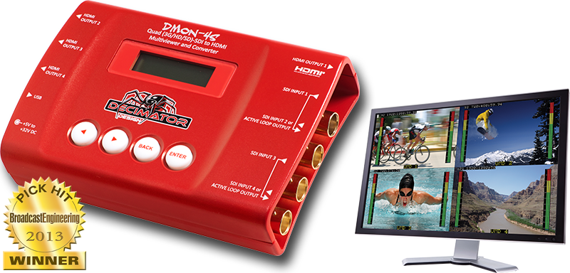 Decimator DMON-4S: Quad (3G/HD/SD)-SDI to HDMI Multi-Viewer and Converter