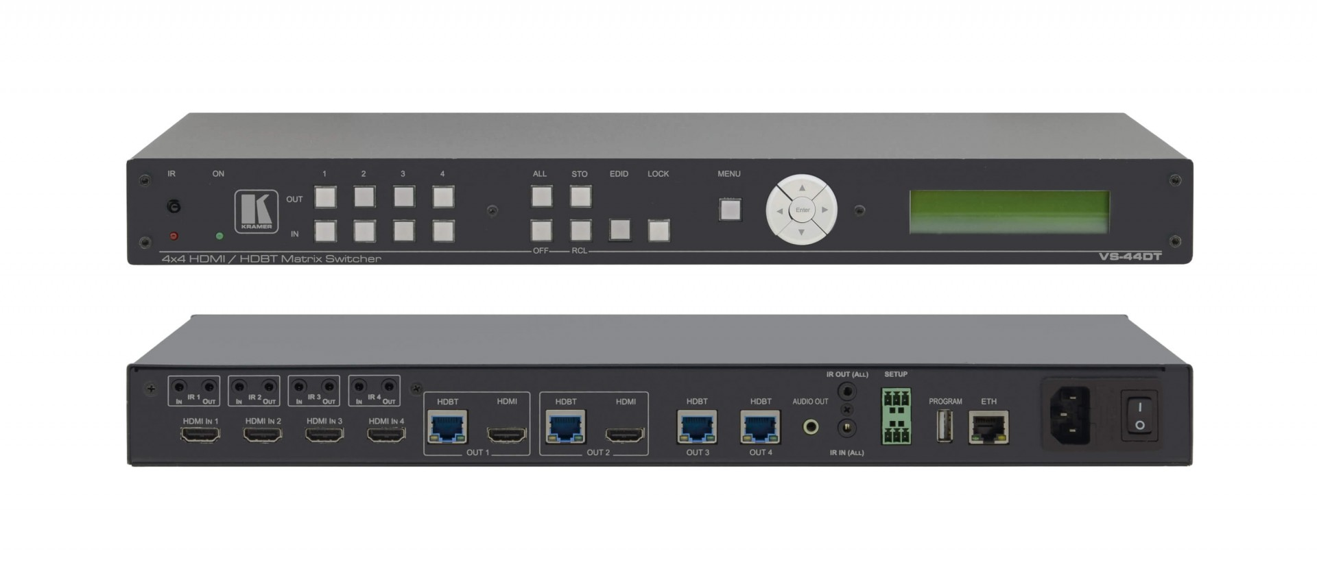 Kramer VS-44DT 4x4 4K60 4:2:0 HDMI/HDBaseT Extended–Reach PoE Matrix Switcher