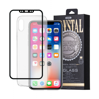 iPhone X/XS Capa Silicone Remax Crystal + Vidro Temperado 3D