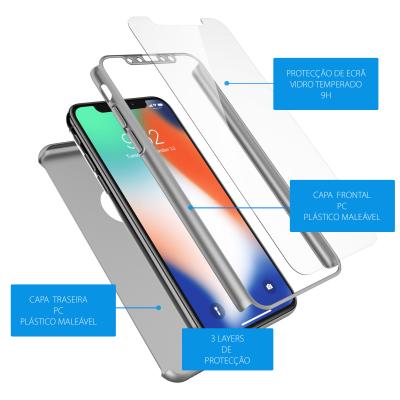 iPhone X/XS Capa Slim 360º + Vidro Temperado