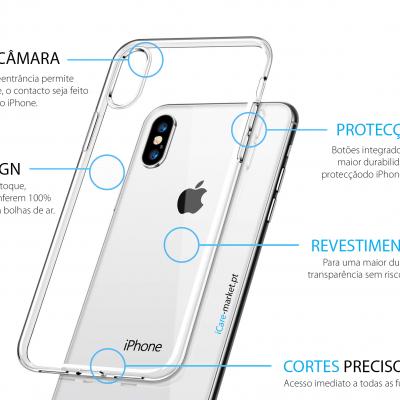 iPhone X/XS Capa Ultra-Fina Silicone Transparente