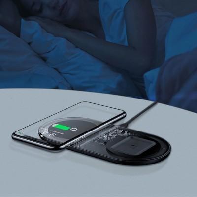 Base de Carregamento sem fios Qi Baseus 2-em-1 Smartphone & AirPods