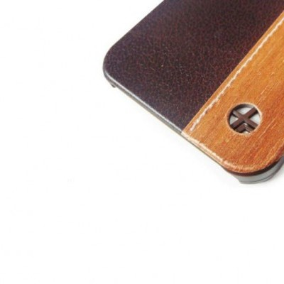 iPhone 5/5S/5SE Capa em Pele e Madeira Rígida Trexta DUO