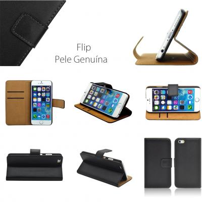 iPhone 5/5S/5C/SE Capa Flip Pele Genuína