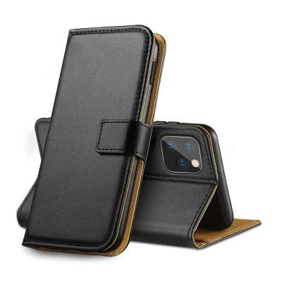 iPhone 11 Pro Capa Carteira Flip em Pele Genuína