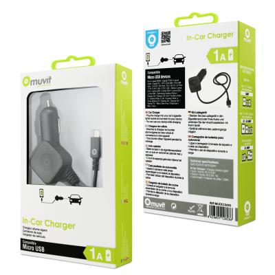 Carregador de isqueiro USB Muvit 1.0A com cabo Lightning  *MFI