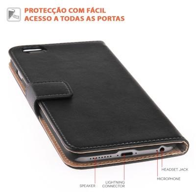 iPhone 6/6S Capa Carteira Flip em Pele Genuína
