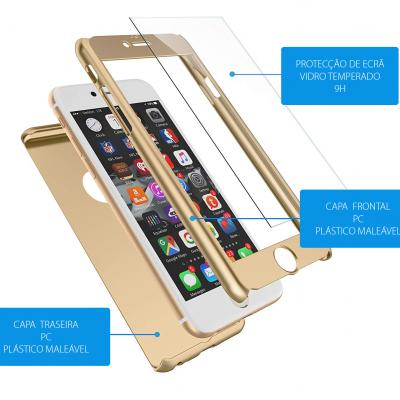 iPhone 6/6S Capa Slim 360º + Vidro Temperado