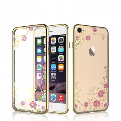 iPhone 6/6S Capa Silicone Flower Bling