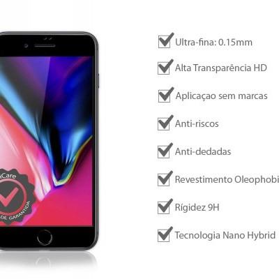 Películas de Protecção de Ecrã em Vidro Temperado 5D Full Nano Flex HD iPhone 7/8