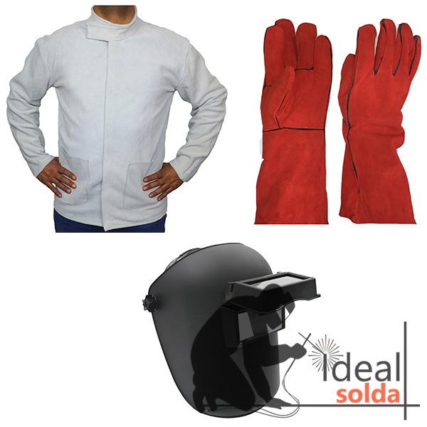 Pack de Soldador - Máscara - Par de Luvas - Casaco em Crute