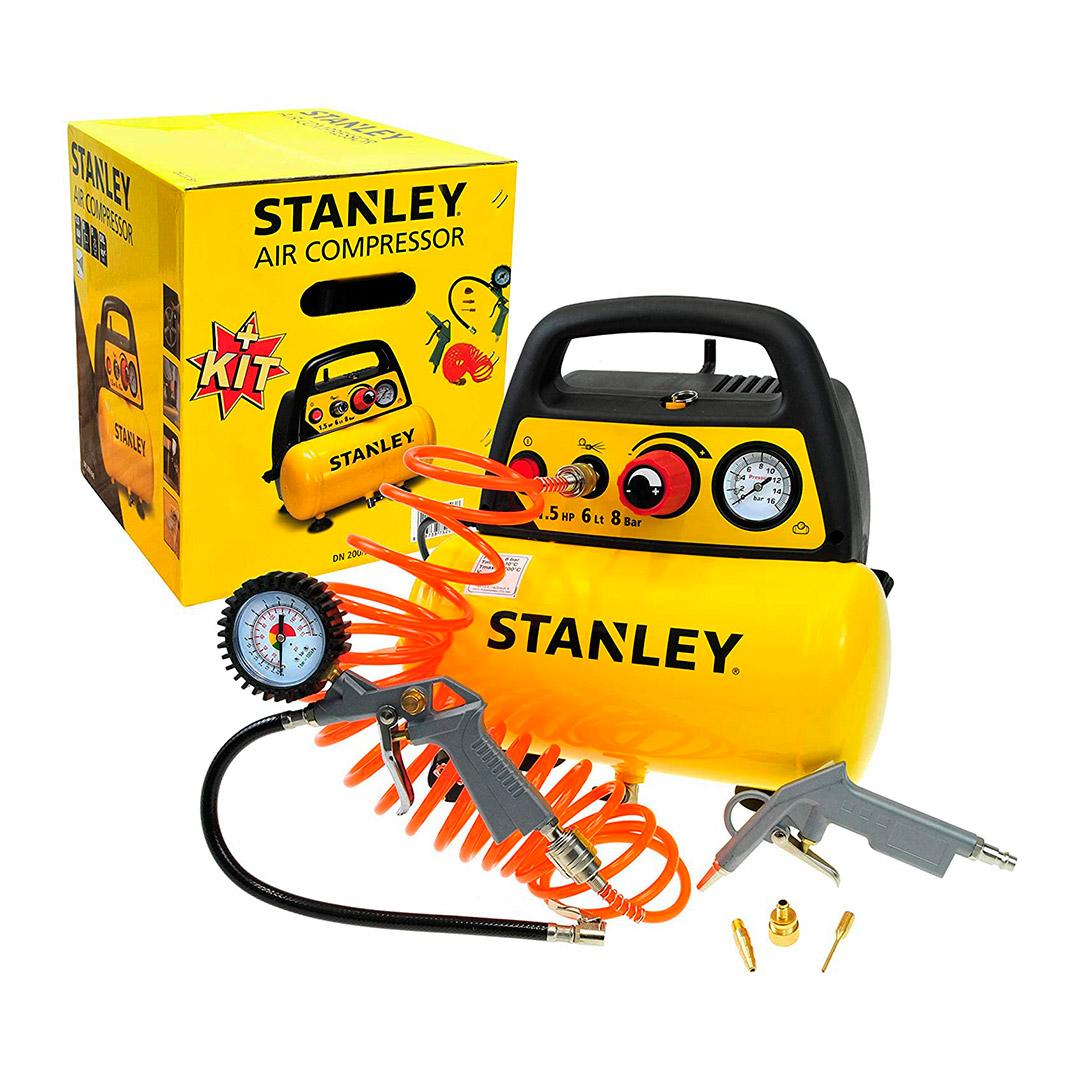 Stanley Compressor Sem Óleo Portátil 1.5CV 6L 8Bar - Com Acessórios