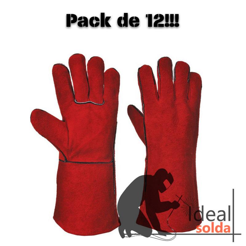 Luva Vermelha de Soldador - Pack de 12