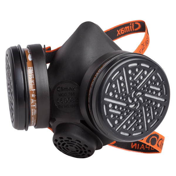 CLIMAX Máscara Respiratória 755 com 2 filtros A1 Incluídos