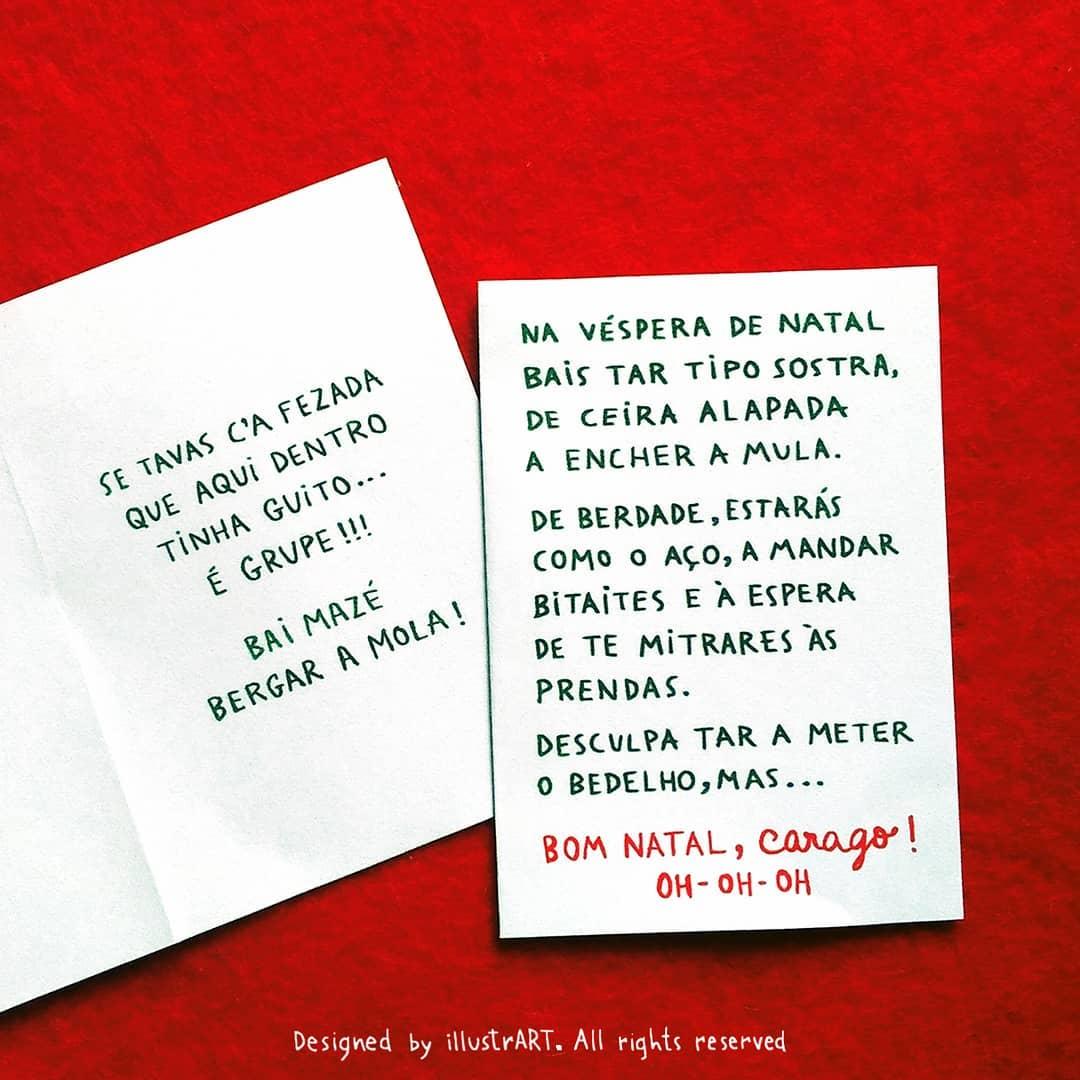 """cartão de natal """"Bom natal, carago!"""""""