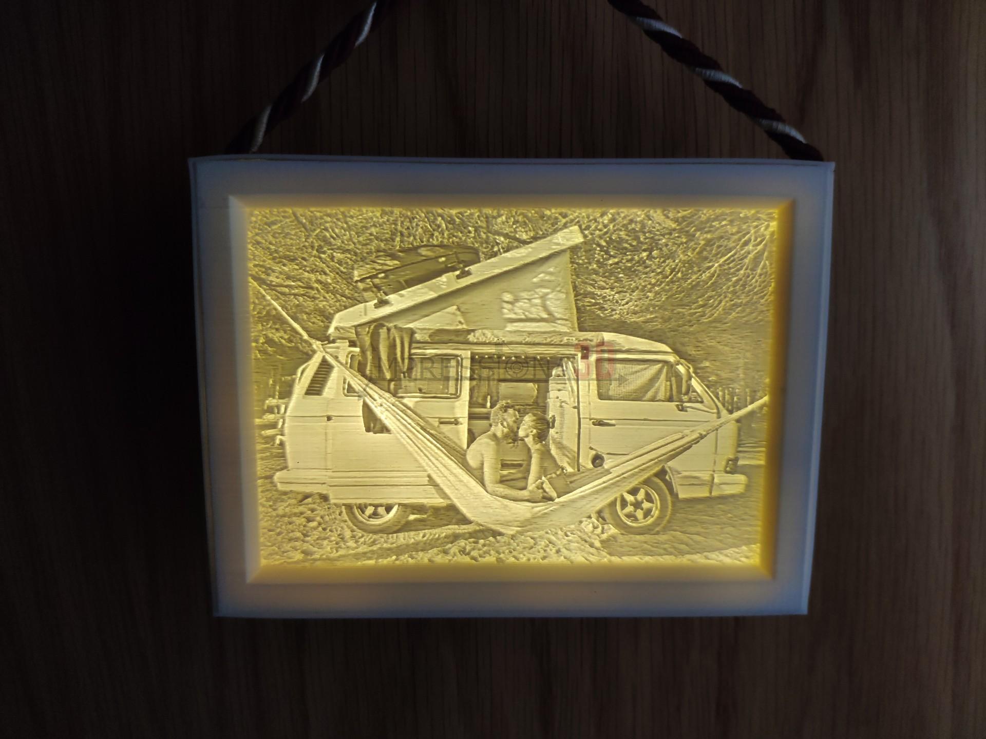 Quadro foto 3D (iluminação a pilhas)
