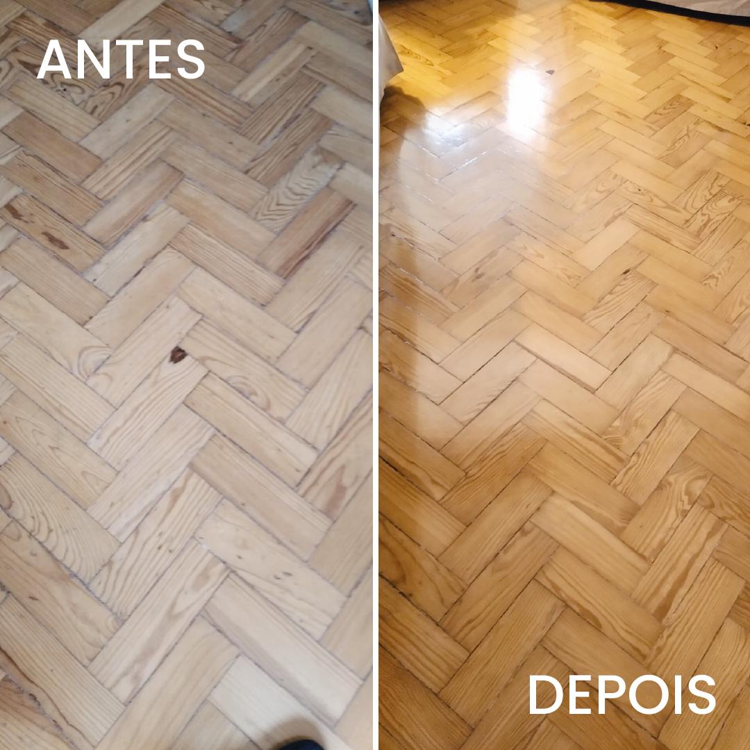 limpar o chão de madeira