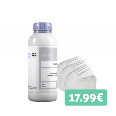 Promo Detergente roupa 1L + 5 máscaras FFP2