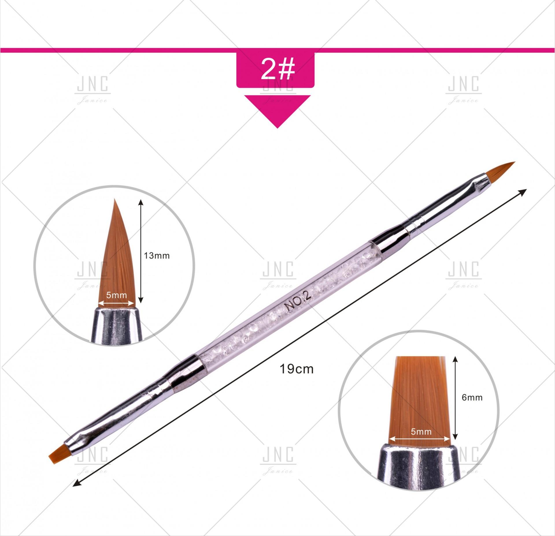 Pincel para Nail Art - Dupla Cabeça (Preenchimento e Sombreador Chato)