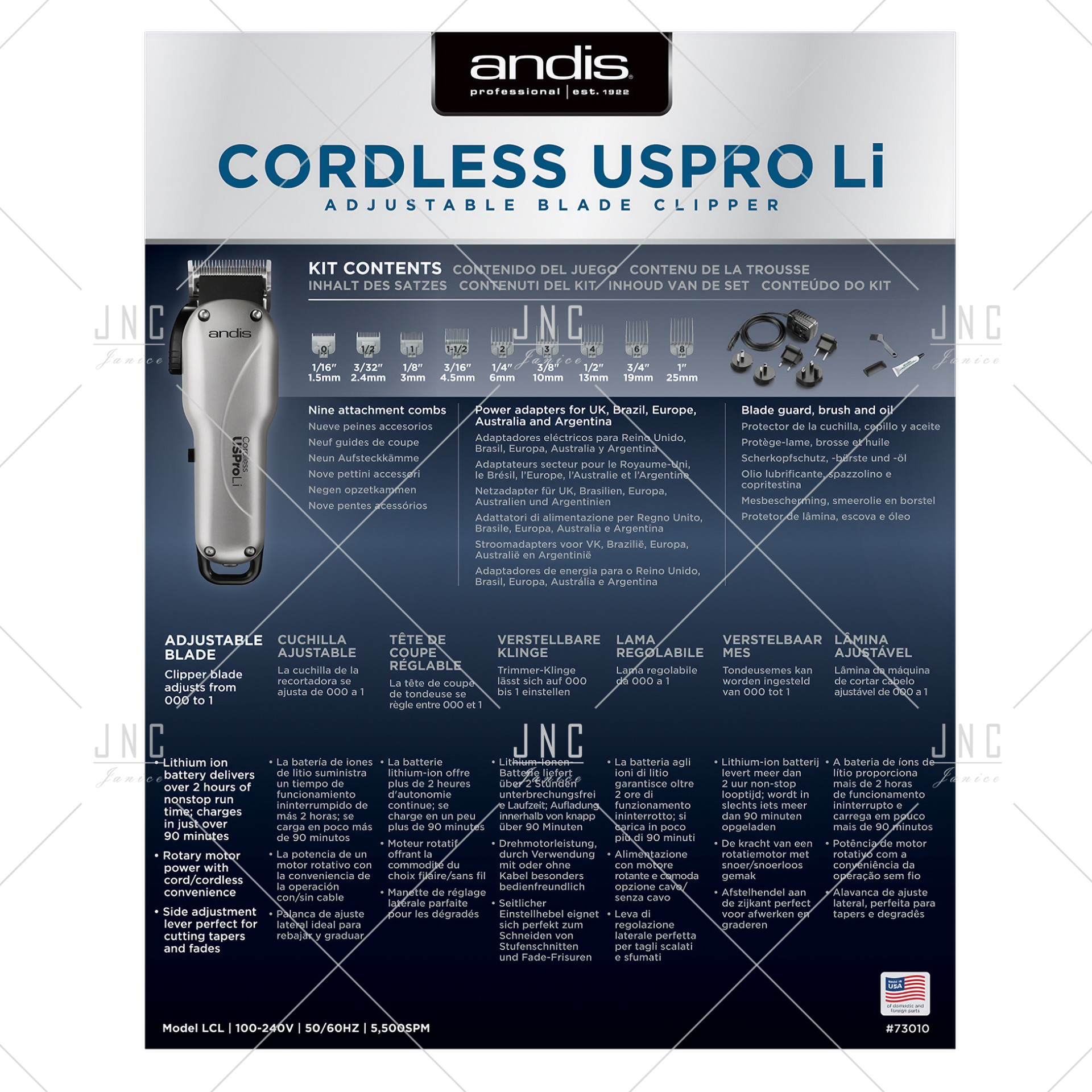 Máquina Andis Cordless USPro Li Adjustable Blade Clipper | REF.A73010
