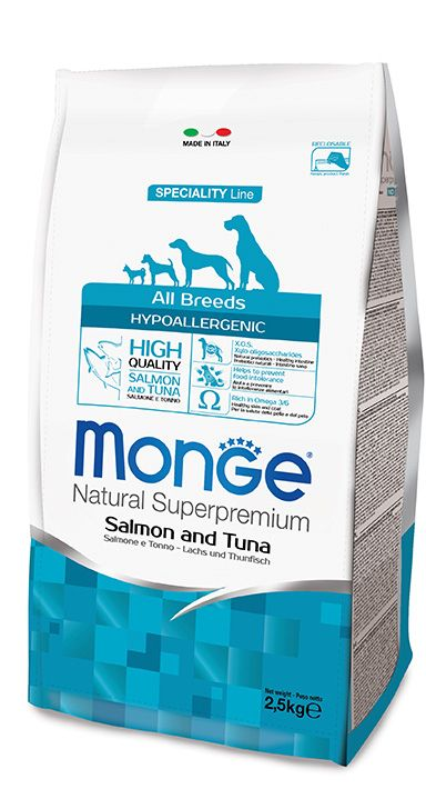 Monge Natural Super Premium Speciality Line Dog All Breeds Adult Hypoallergenic Salmon & Tuna 12Kg