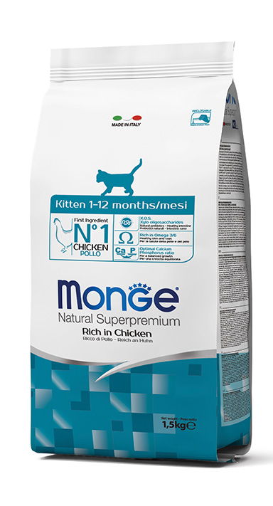 Monge Natural Super Premium Dry Cat Food Kitten Rich in Chicken