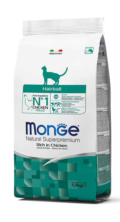 Monge Natural Super Premium Dry Cat Food Hairball Rich in Chicken