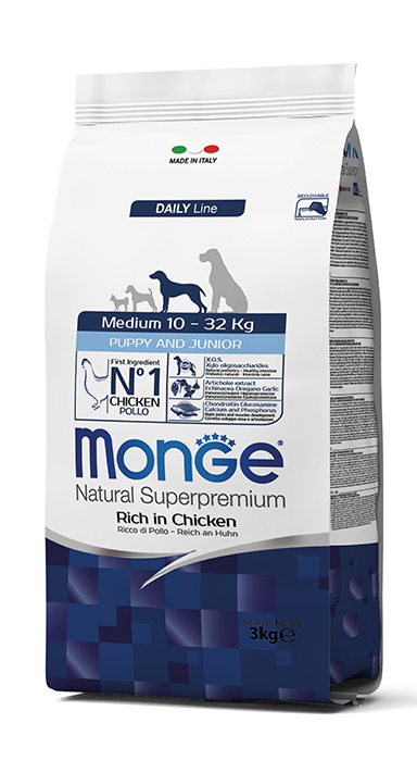 Monge Natural Super Premium Daily Line Medium Puppy & Junior 12kg