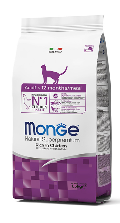 Monge Natural Super Premium Dry Cat Food  Adult Rich in Chicken