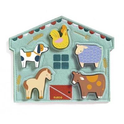 Puzzle de Feltro e Madeira - Animais