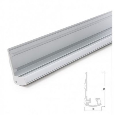Perfil Alumínio Fita LED para Escada com Borrachas Antiderrapantes