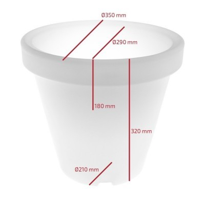 Vaso LED RGBW 35cm Recarregável