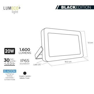 "Projetor LED 30W  ""Black Edition"" C/ TRIPE"