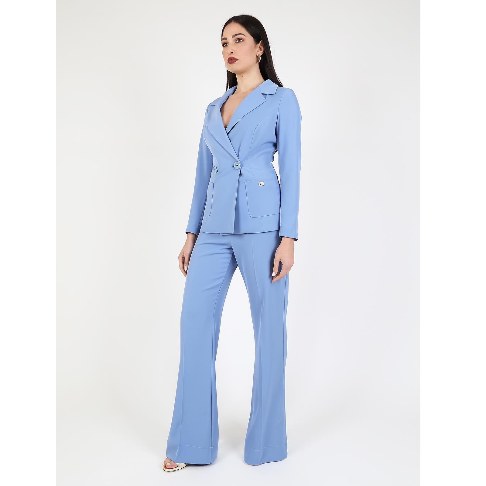Calça larga azul Roberta Biagi