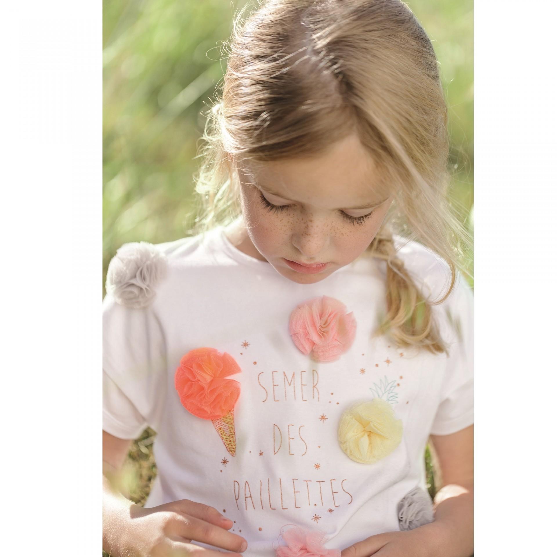 T-shirt branca com pumpuns coloridos Catimini