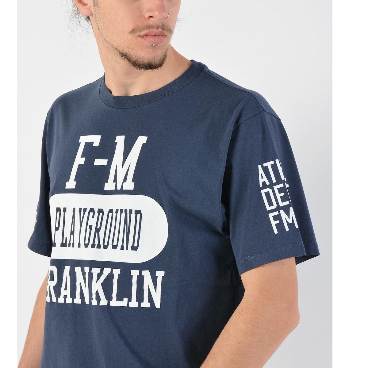 T-shirt azul com letras brancas Franklin & Marshall