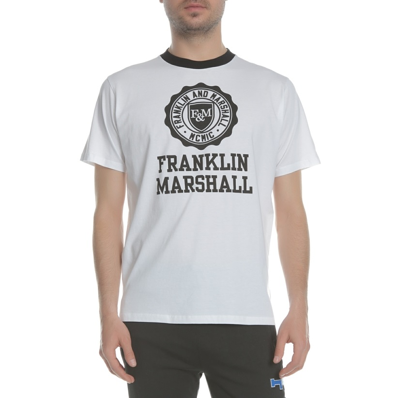 T-shirt branca com logo em preto Franklin & Marshall