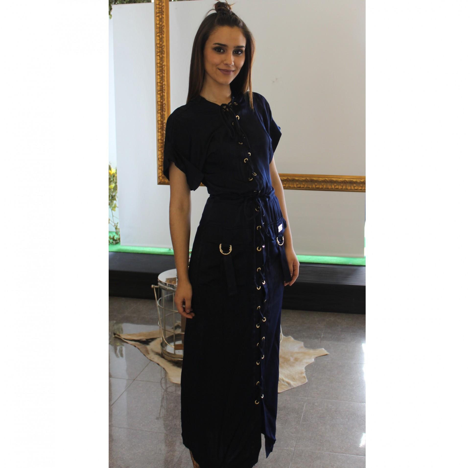 Vestido longo azul marinho Roberta Biagi