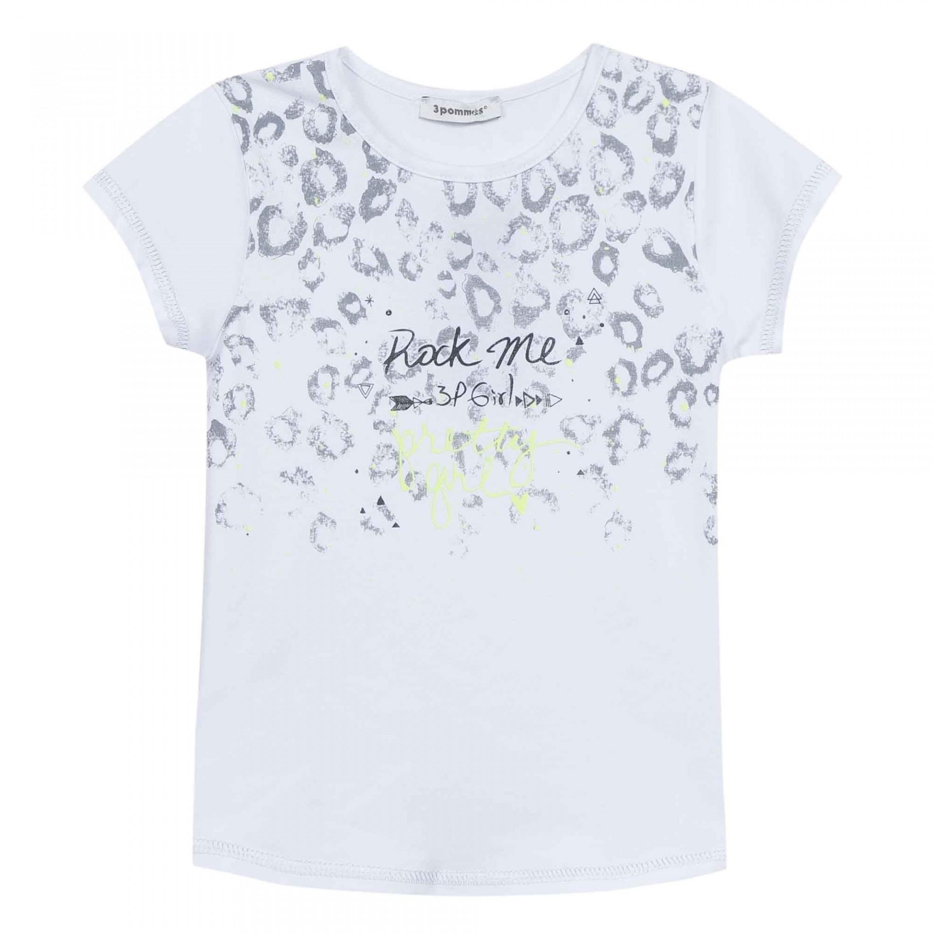 T-shirt branca com detalhes em cinza 3pommes