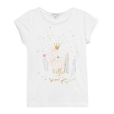 T-shirt branca com estampa frontal 3pommes