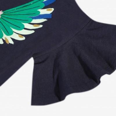 T-shirt azul marinho pássaro Catimini