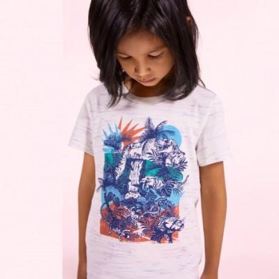 T-shirt cinza jaspeada tropical Catimini