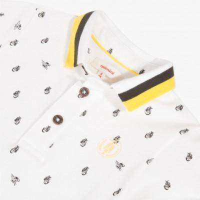 Polo branco com detalhes amarelos Catimini