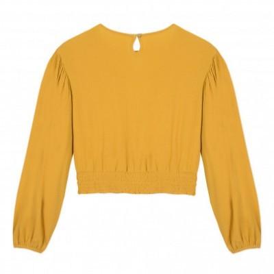 Blusa crop amarelo mostarda Beckaro